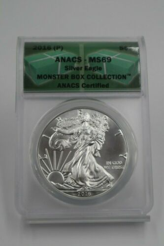 Bullion 2016 S P American Silver Eagle Anacs Ms69 Monster Box Collection 2 Coin Set Silver Eagles American Silver Eagle Monster Box