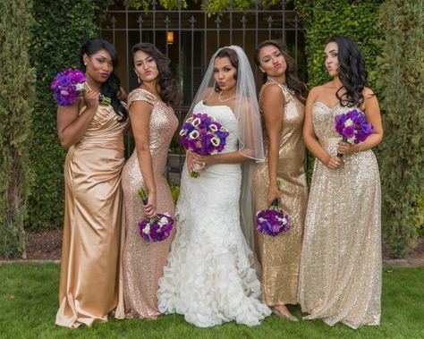 Bridesmaids In Gold Sequin Floor Length Dresses Holding Purple