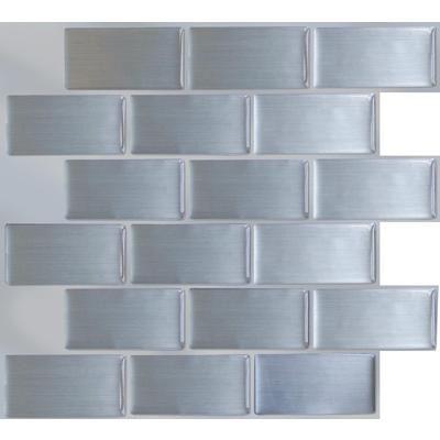 Stick It Tiles Steel Subway Stick It Tile 11 25x10 Bulk Pack 8 Tiles 27002 Home Depot Canada Vinyl Wall Tiles Primitive Kitchen Wall Tiles