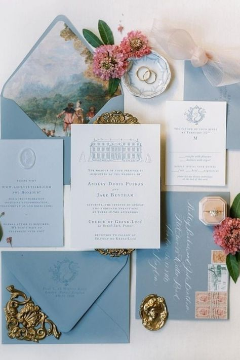 Our hearts are stolen by this dusty blue suite! These French-inspired details are perfect for a wedding at @chateaudugrandluce. 🇫🇷 | Photography: @sophiekayephotography #stylemepretty #weddinginvites #weddinginvitations #weddingstationery