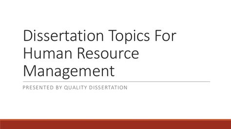 human resource dissertation topics