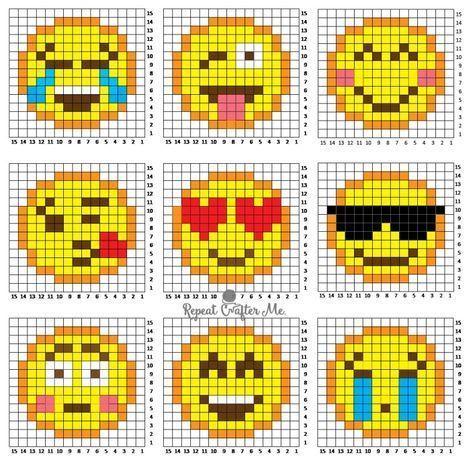 Emoticones Crochet Pixel Dessin Petit Carreau Dessin Smiley
