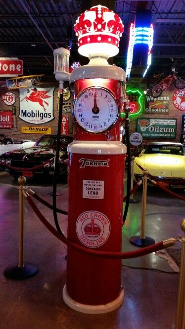Restored Original Double Clock Faced Tokheim Gas Pump - Red