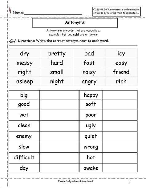 Free Worksheets For 2nd Grade Grammar Post Date 29 Nov 2018 78 Source 2nd Grade Reading Worksheets 2nd Grade Math Worksheets 2nd Grade Worksheets Antonyms worksheet 2nd grade