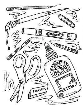 Art Supplies Coloring Sheet Mrsbrown Art Coloring Sheets Art Art Lessons