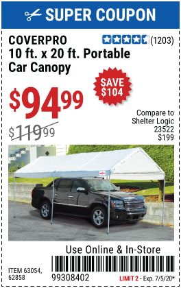 Coverpro 10 Ft X 20 Ft Portable Car Canopy For 94 99 Car Canopy Harbor Freight Tools Car