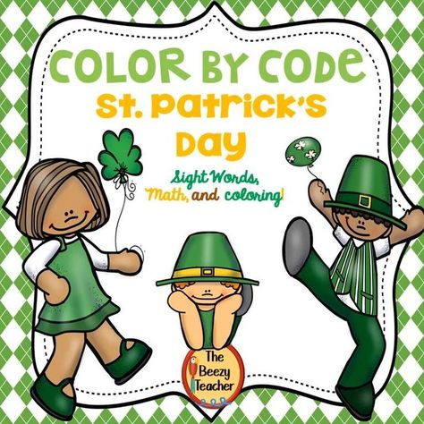 Fun color-by code pages that are made especially for St. Patrick's Day. The pages can be used for coloring to make a camaolorful display in the classroom. Or a lovely gift to send home. Some of the skills included in this product: Coloring by code with sight words, math, and just plain simple coloring! #stpatricksday #colorbycode #kindergartenskills #thebeezyteacher