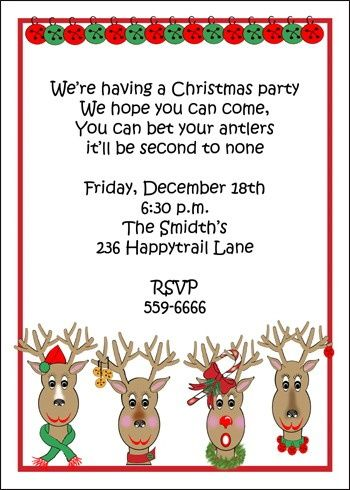 Kids Christmas Party Invitation Cards SEASONAL Pinterest