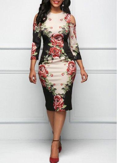 Three Quarter Sleeve Cold Shoulder Flower Print Dress   Rosewe.com - USD $32.19
