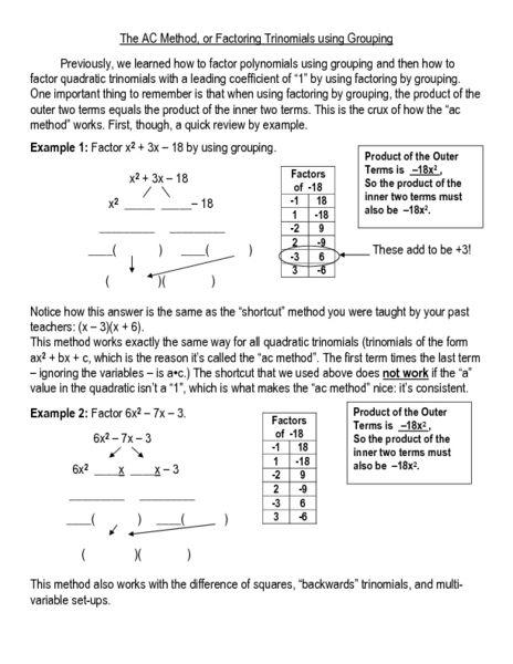 All Worksheets Factoring Trinomials Worksheets Printable Worksheets Guide For Children And Great All Work Factor Trinomials Quadratics Printable Worksheets