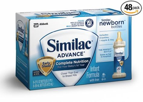 Amazon Com Similac Advance Newborn Ready To Feed 2 Fluid Ounces Pack Of 48 Packaging May Vary Baby Baby Formula Milk New Baby Products Complete Nutrition