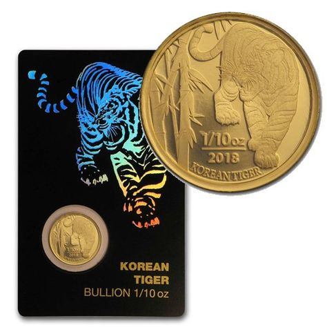 2018 South Korea 1 10 Oz Gold Tiger In Assay Card In 2020 Silver Bullion Gold Bullion Foreign Coins