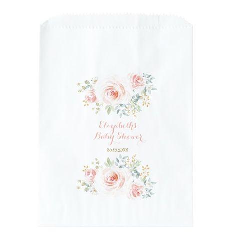 Watercolor Blush Pink Gold Flower Roses Party Favor Bag #pinkfloralbabyshower #blushand #pinkand #bohobabyshower #garden #FavorBag #favorbags #wedding #birthday #anniversary #babyshower #barmitzvah #batmitzvah #bridalshower #giftbags #celebrations #floral #watercolor #modern #elegant