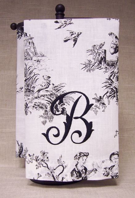 Black Toile French Country Dish Towel Set of 2