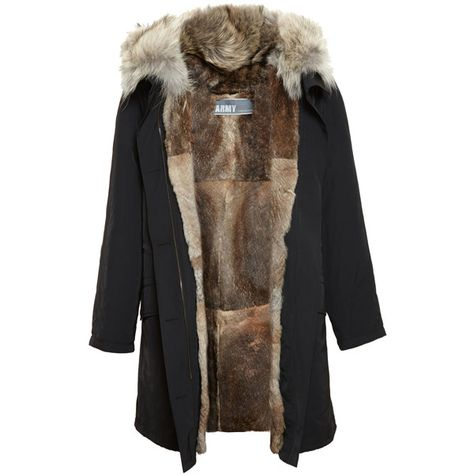 YVES SALOMON Classic Rabbit Fur Lined Nylon Parka ($1,965