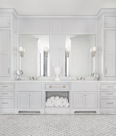 Luxury White Marble Bathroom Interior Design And Ideas Grey Bathroom Cabinets, Light Gray Cabinets, Linen Cabinet In Bathroom, Marbel Bathroom, Marble Bathroom Floor, Restroom Cabinets, Bathroom Countertops, Dark Cabinets, Dream Bathrooms