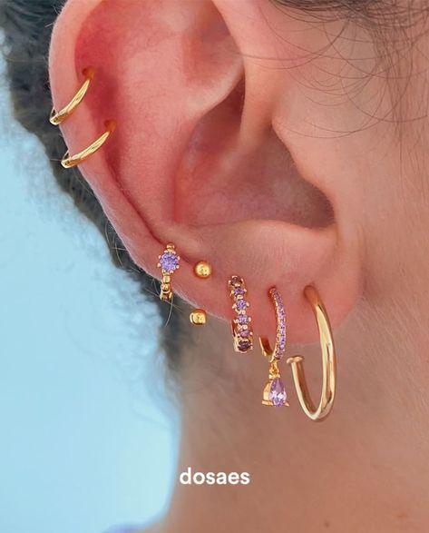 Pretty Ear Piercings, Ear Piercings Chart, Ear Peircings, Types Of Ear Piercings, 3 Lobe Piercings, Ear Jewelry, Cute Jewelry, Body Jewelry, Jewelery
