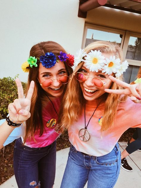 - Hippie outfits for school spirit