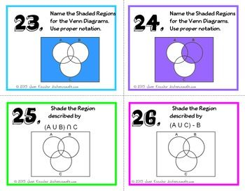 Algebra Set Theory Venn Diagrams Task Cards Venn Diagram Task Cards Math Intervention