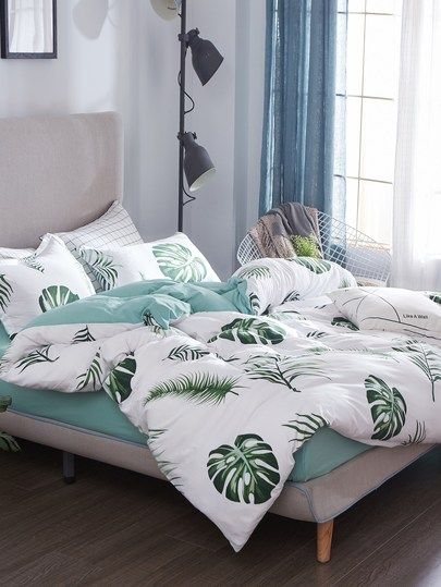 Graphic Leaf Print Sheet Set Bed Decor Cute Bed Sets Aesthetic Bedroom