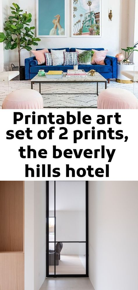 Printable art set of 2 prints, the beverly hills hotel print, california wall art, film photography,