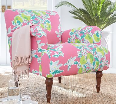 Lilly Pulitzer Hadley Upholstered Armchair Potterybarn Upholstered Arm Chair Slipcovers For Chairs Armchair