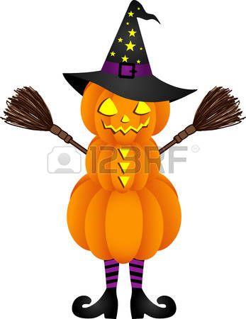 Una Bruja Divertida Saltando La Escoba Vector Calabazas De Halloween Sombrero De Bruja Brujas
