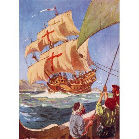 Christopher Columbus Leaves The Coast Of Spain In His Flag Ship The Santa Maria On His First Voyage To The New Wor Columbus Ship Christopher Columbus New World