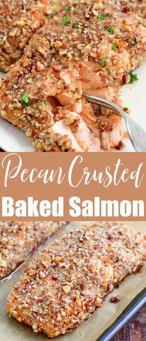 Pecan Crusted Salmon is an easy gluten free dinner recipe that needs to make its way to your menu right away! This tasty, juicy baked salmon is coated in a thin layer of flavored mayo and encrusted in a mixture of crushed pecans and freshly grated Parmesan cheese.