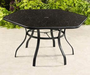 Wilson Fisher Aspen Hexagon Painted Glass Top Dining Table