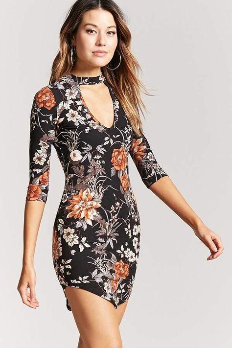 Forever 21 Floral Cutout Mini Dress Vestidos Moda