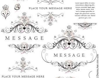 Digital Floral Wedding Clip Art Monogram Foliage Shabby Chic Frames Indie Boho Vine Flourish Swirls Embroidery Designs Scrapbooking 10329