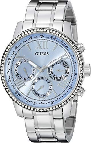Guess Watch for Women GUESS Women's Sporty Silver-Tone Stainless Steel Watch with Multi-function Dial and Pilot Buckle ** Check this awesome product by going to the link at the image. (This is an affiliate link) Discovred by : Wristwatch