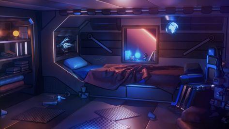 ArtStation - The Cosy Frontier, Curtis Holt Futuristic Bedroom, Futuristic Interior, Futuristic Art, Futuristic Architecture, Cyberpunk Aesthetic, Cyberpunk City, Spaceship Interior, Spaceship Design, Gaming Room Setup