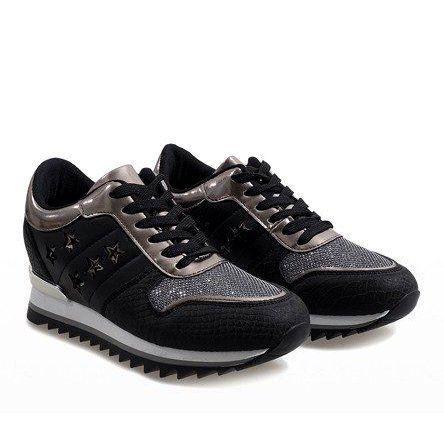 Czarne Sneakersy Na Koturnie G 127 Black Sneakers Sneaker Heels Wedge Heels