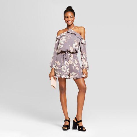 e0914a913114 Women s Floral Long Sleeve Romper - Xhilaration Stone Xxl