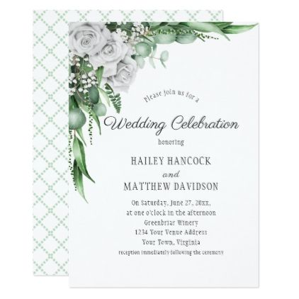White Roses Eucalyptus Baby S Breath Wedding Invitation Zazzle Com Babys Breath Wedding Babys Breath Wedding Invitations