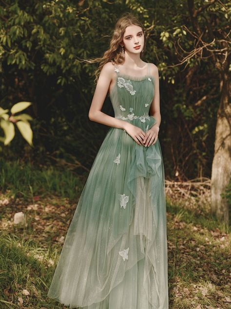 Green tulle lace long prom dress green tulle evening dress - us 10 / custom color