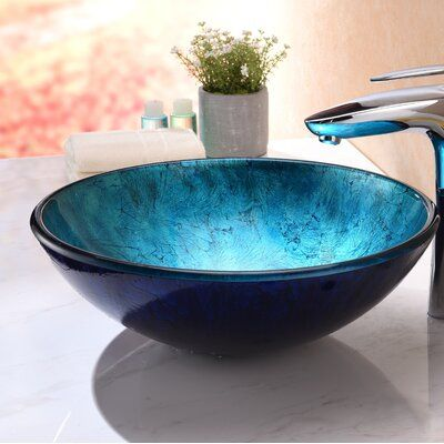Anzzi Jonas Frosted Blue Tempered Glass Circular Vessel Bathroom Sink Bathroom Sink Glass Sink Vessel Sink Bathroom