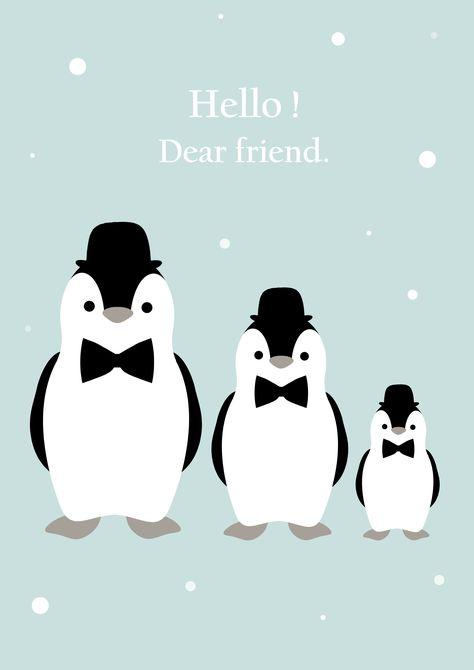 Hello dear friend / Affiche déco pour chambre d'enfant / Pingouin / Mint / Kids / Vintage / Scandinave / Children's room. Illustration