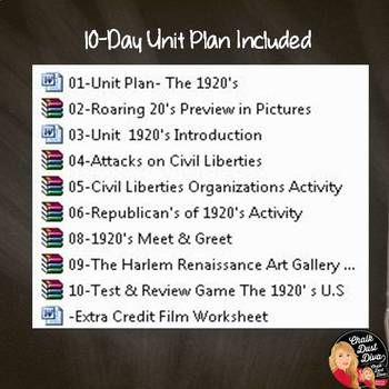 1920 S Roaring 20 S BUNDLE 10 Day Unit Plan Print