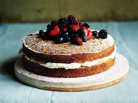 Mascarpone-Filled Cake with Sherried Berries