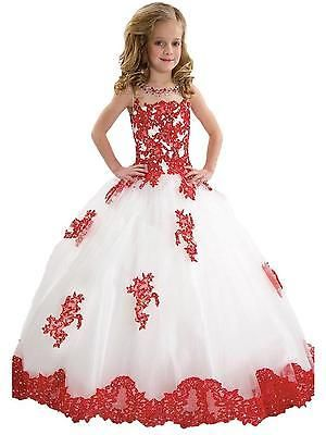 Amazon.com: FatefulBridal Girls\' Ball Gown Appliques Beads O-neck ...