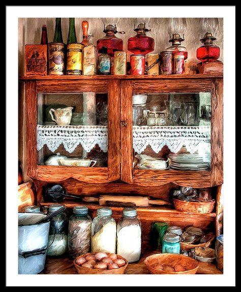 vintage farmhouse kitchen - displaying my oil lamps Vintage Farmhouse, Vintage Kitchen, Farmhouse Style, Farmhouse Decor, Vintage Country, Vintage Wood, Vintage Antiques, Antique Kitchen Decor, Antique Cupboard
