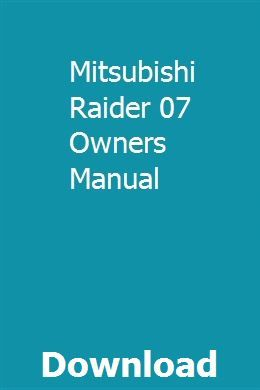 Mitsubishi Raider 07 Owners Manual Repair Manuals Chilton Repair Manual Owners Manuals