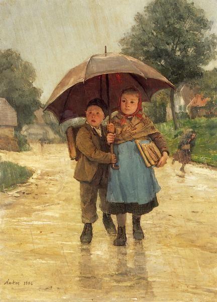 Albert Anker (1831-1910) - Under The Umbrella, 1884