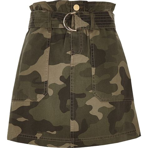 Khaki camo paperbag utility skirt - Mini Skirts - Skirts - women