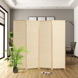 RHF 6 ft Tall-Extra Wide-Diamond Weave Fiber Room Divider,Double Hinged,6 Panel