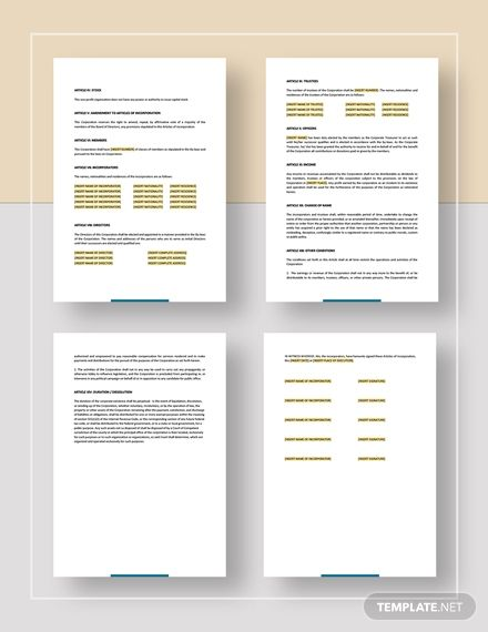 Articles Of Incorporation For A Non Profit Organisation Template In 2020 Non Profit Templates Wedding Vector Graphics