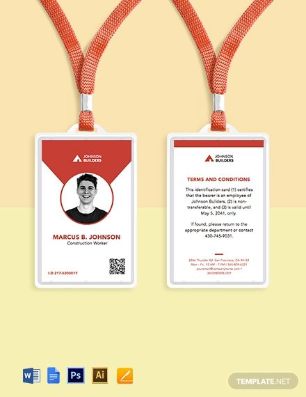 Vertical Press Id Card Template Word Psd Indesign Apple Pages Publisher Illustrator Template Net Id Card Template Card Template Name Card Design